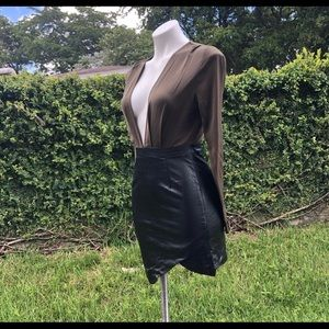 V neck plunge with leather skirt dress